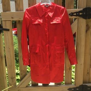 Marc Jacobs red satin trench coat